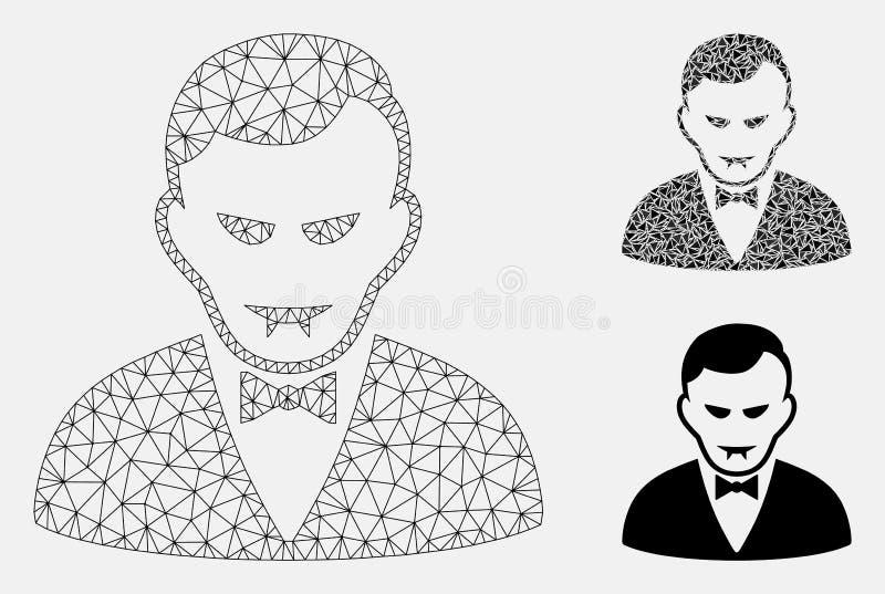 Διανυσματικά 2$α πρότυπο πλέγματος βαμπίρ και εικονίδιο μωσαϊκών τριγώνων απεικόνιση αποθεμάτων