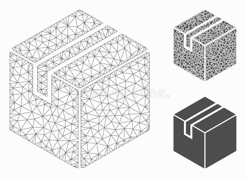 Διανυσματικά 2$α πρότυπο πλέγματος κιβωτίων συσκευασίας προϊόντων και εικονίδιο μωσαϊκών τριγώνων διανυσματική απεικόνιση