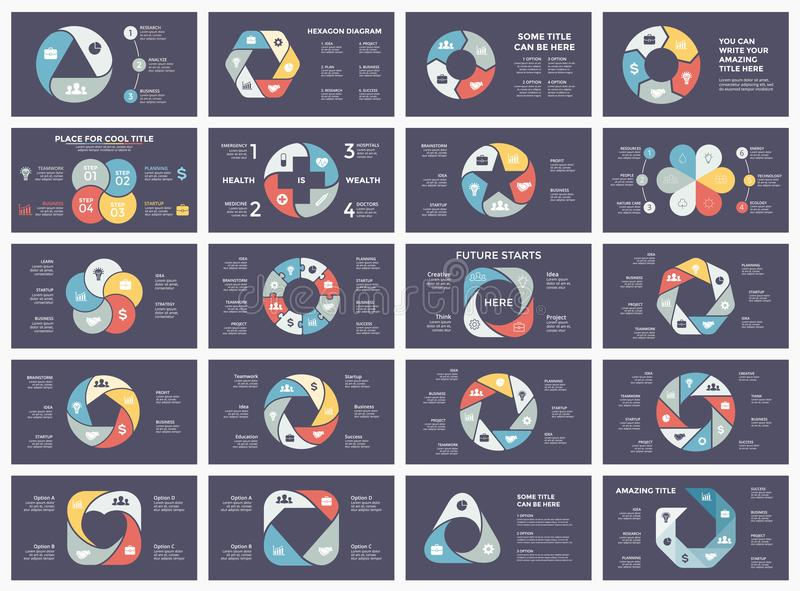 Διανυσματικά βέλη κύκλων infographic, διάγραμμα κύκλων, γραφική παράσταση, διάγραμμα παρουσίασης Επιχειρησιακή έννοια με 3, 4, 5, απεικόνιση αποθεμάτων
