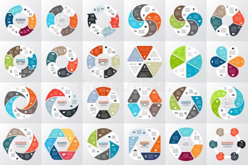 Διανυσματικά βέλη κύκλων infographic, διάγραμμα, γραφική παράσταση, παρουσίαση, διάγραμμα Έννοια επιχειρηματικών κύκλων με 6 επιλ διανυσματική απεικόνιση