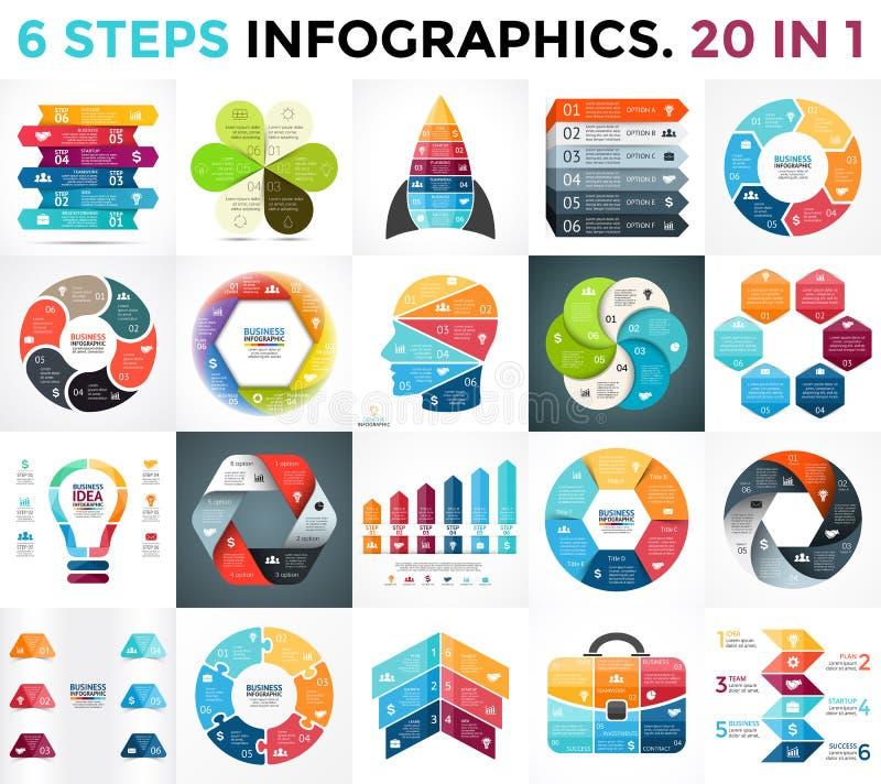 Διανυσματικά βέλη κύκλων infographic, διάγραμμα κύκλων, επιχειρησιακή γραφική παράσταση, διάγραμμα παρουσίασης 6 επιλογές, μέρη,  διανυσματική απεικόνιση