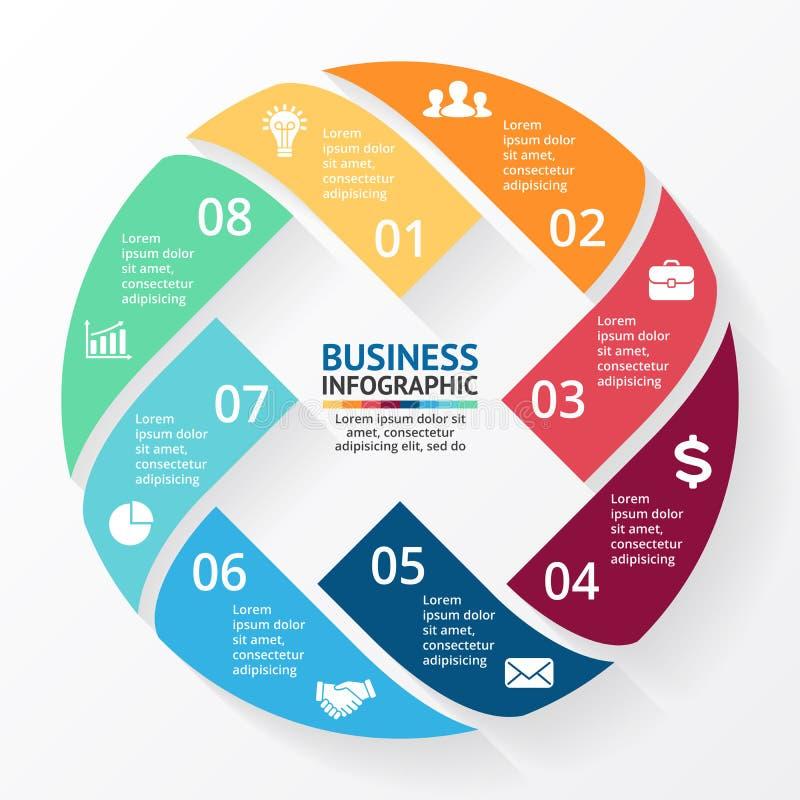 Διανυσματικά βέλη Χ κύκλων infographic, διάγραμμα, γραφική παράσταση, παρουσίαση, διάγραμμα Έννοια επιχειρηματικών κύκλων με 8 επ ελεύθερη απεικόνιση δικαιώματος