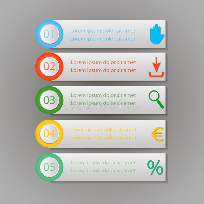 Διανυσματικά 5 βήματα σχεδίου Infographic ελεύθερη απεικόνιση δικαιώματος