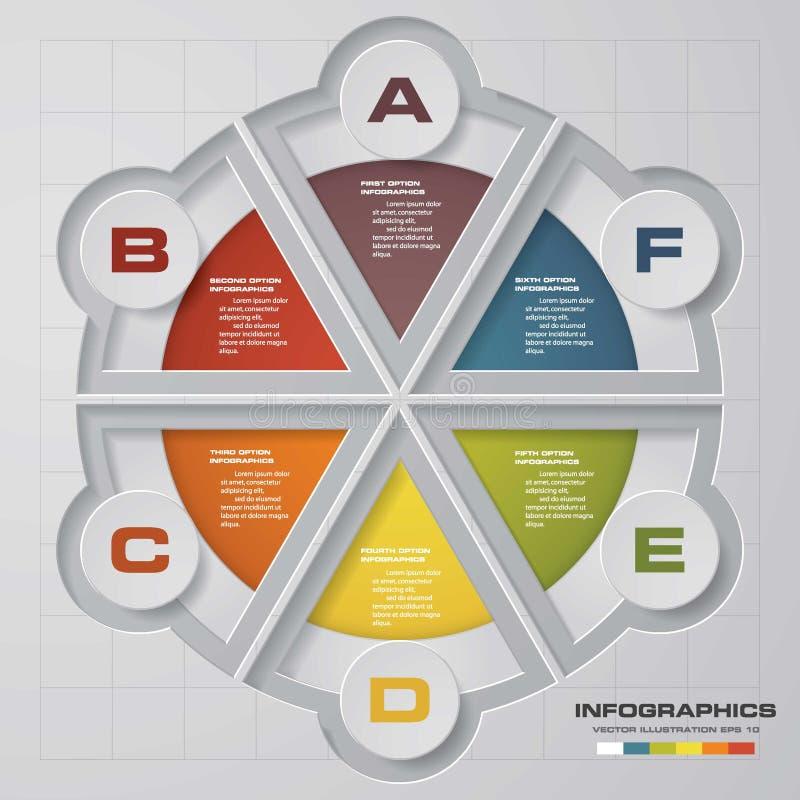 Διανυσματικά 6 βήματα infographic Πρότυπο για το διάγραμμα κύκλων, τη γραφική παράσταση, την παρουσίαση και το στρογγυλό διάγραμμ ελεύθερη απεικόνιση δικαιώματος