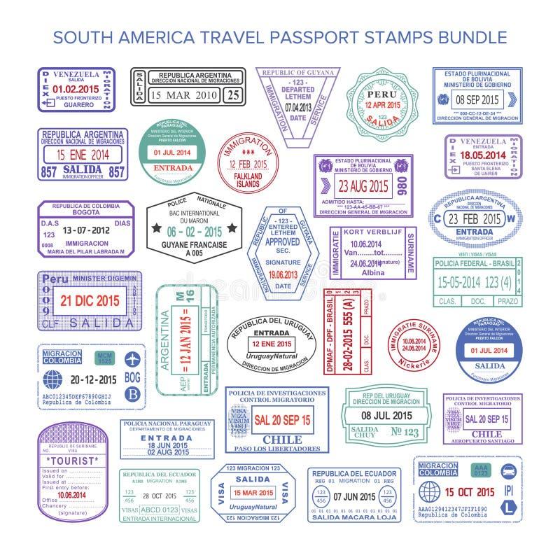 Διανυσματικά γραμματόσημα θεωρήσεων ταξιδιού χρώματος της Νότιας Αμερικής καθορισμένα διανυσματική απεικόνιση