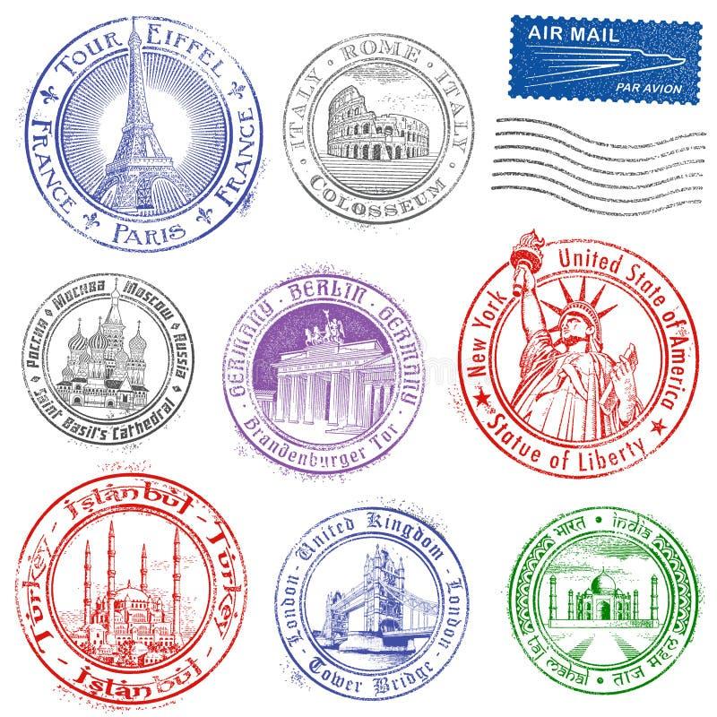 Διανυσματικά γραμματόσημα μνημείων Grunge απεικόνιση αποθεμάτων