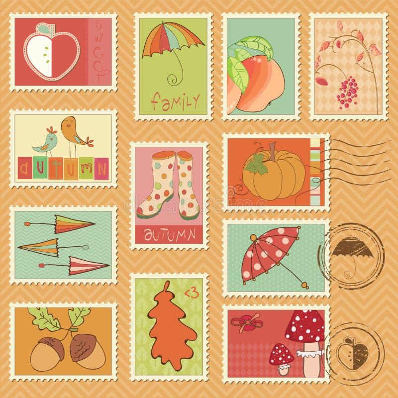Διανυσματικά γραμματόσημα φθινοπώρου απεικόνιση αποθεμάτων