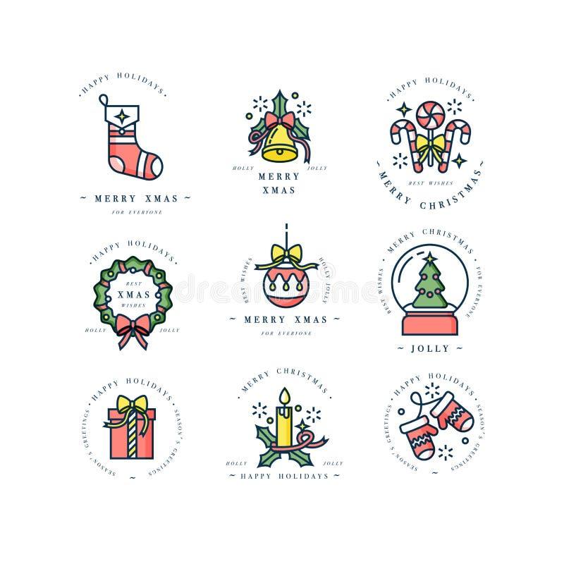 Διανυσματικά γραμμικά στοιχεία χαιρετισμών Χριστουγέννων σχεδίου στο άσπρο υπόβαθρο Εικονίδιο ANG τυπογραφίας για τις κάρτες Χρισ ελεύθερη απεικόνιση δικαιώματος