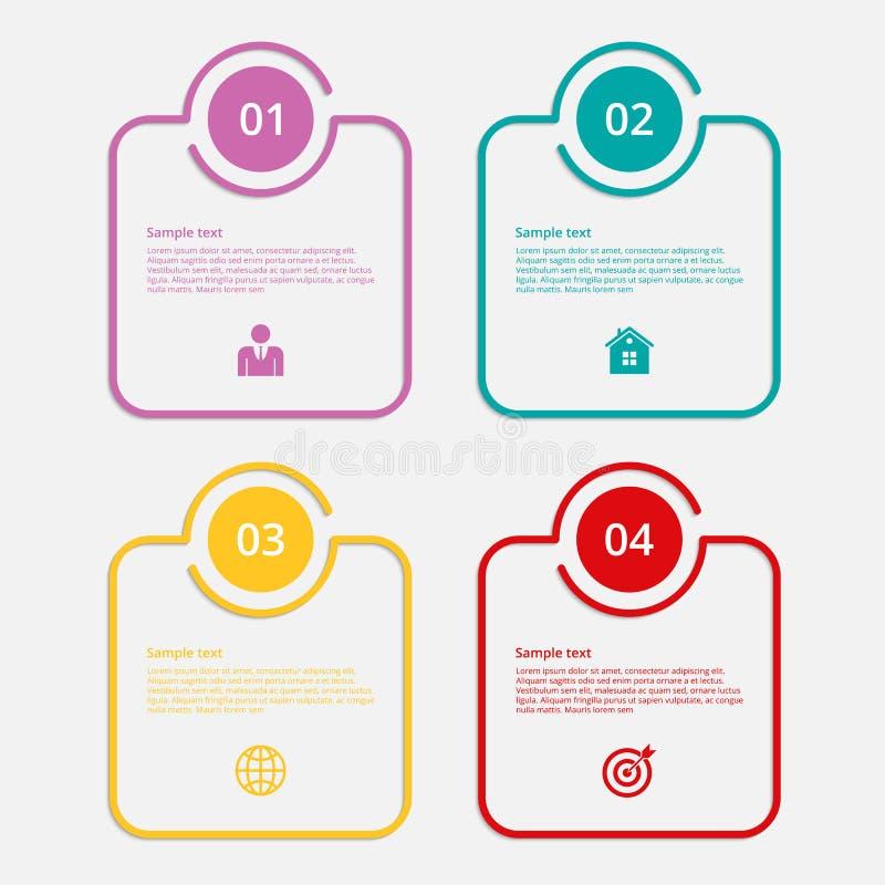 Διανυσματικά γραμμικά τετράγωνα infographics απεικόνισης Επίπεδο σχέδιο ελεύθερη απεικόνιση δικαιώματος