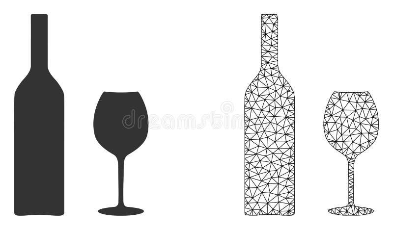 Διανυσματικά γυαλικά κρασιού πλέγματος δικτύων και επίπεδο εικονίδιο διανυσματική απεικόνιση