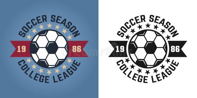 Διανυσματικά δύο εμβλήματα εποχής ποδοσφαίρου για την ομάδα κολλεγίων απεικόνιση αποθεμάτων