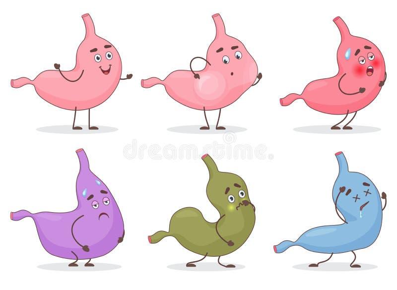 Διανυσματικά είδωλα προσώπου emoji στομαχιών κινούμενων σχεδίων emoticon Χαριτωμένες εκφράσεις και συγκινήσεις κοιλιών stomack κα διανυσματική απεικόνιση