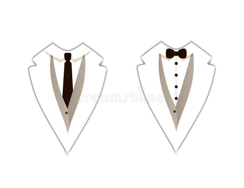 Διανυσματικά εικονίδια: Άσπρο σμόκιν, επίσημος ιματισμός, ευθύς δεσμός και δεσμός τόξων, επίπεδα σημάδια ελεύθερη απεικόνιση δικαιώματος