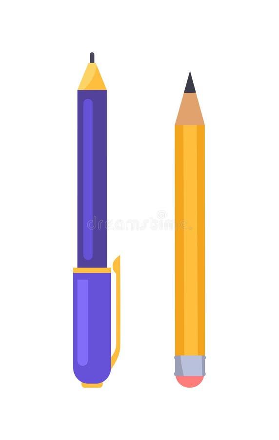 Διανυσματικά εικονίδια απεικόνισης στυλών και μολυβιών που απομονώνονται διανυσματική απεικόνιση