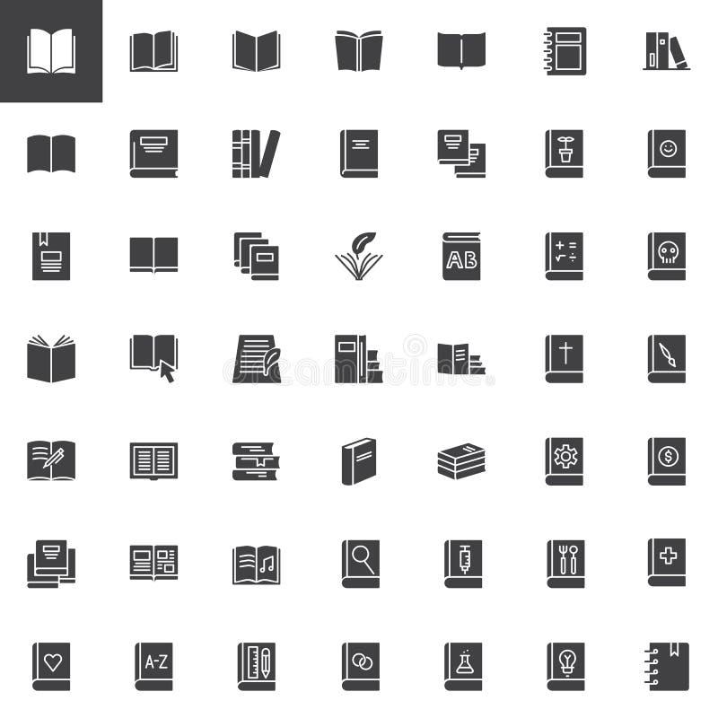 Διανυσματικά εικονίδια βιβλίων καθορισμένα ελεύθερη απεικόνιση δικαιώματος