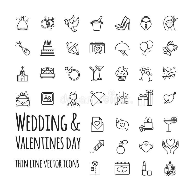 Διανυσματικά εικονίδια γάμου και ημέρας βαλεντίνων καθορισμένα ελεύθερη απεικόνιση δικαιώματος