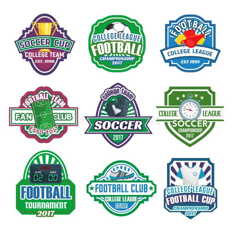 Διανυσματικά εικονίδια για την ομάδα ποδοσφαιρικών πρωταθλημάτων λεσχών ποδοσφαίρου ελεύθερη απεικόνιση δικαιώματος