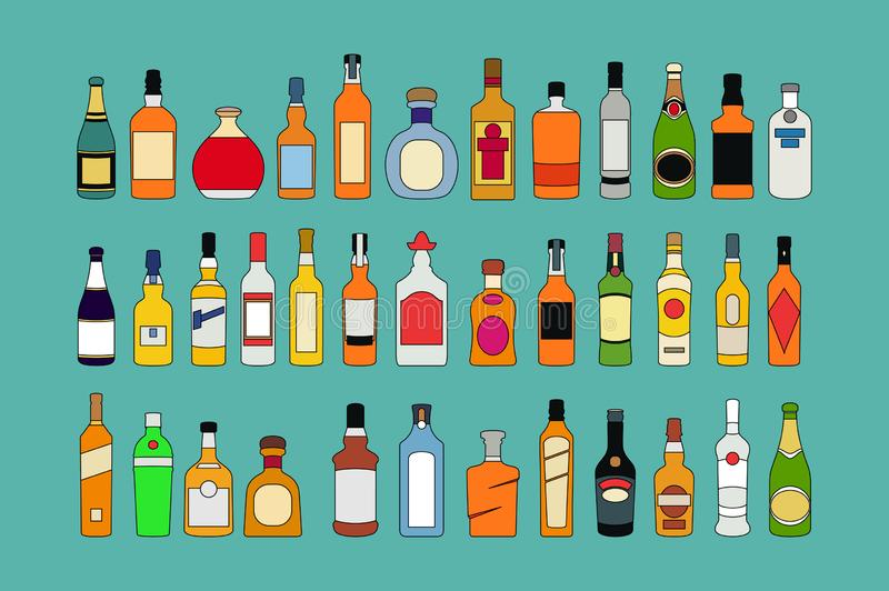 Διανυσματικά εικονίδια γραμμών μπουκαλιών οινοπνεύματος καθορισμένα Επίπεδο διάνυσμα απεικόνισης συλλογής μπουκαλιών οινοπνεύματο διανυσματική απεικόνιση