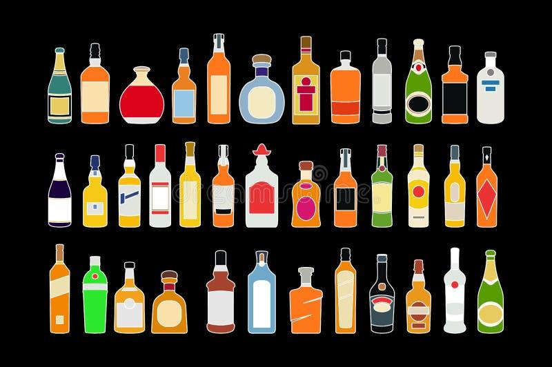 Διανυσματικά εικονίδια γραμμών μπουκαλιών οινοπνεύματος καθορισμένα Επίπεδη απεικόνιση συλλογής σχεδίου στο μαύρο υπόβαθρο απεικόνιση αποθεμάτων