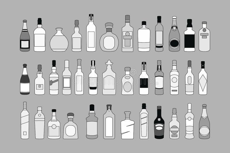 Διανυσματικά εικονίδια γραμμών μπουκαλιών οινοπνεύματος καθορισμένα ποτά απεικόνισης Αντικείμενο για τη διαφήμιση και τον Ιστό διανυσματική απεικόνιση