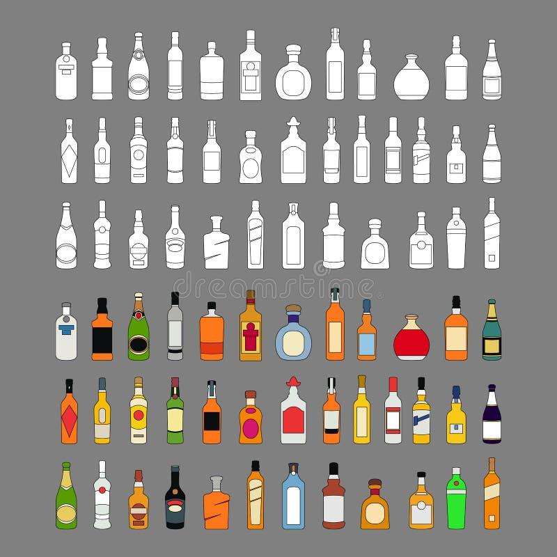 Διανυσματικά εικονίδια γραμμών μπουκαλιών οινοπνεύματος καθορισμένα ποτά απεικόνισης Αντικείμενο για τη διαφήμιση και Ιστός που α διανυσματική απεικόνιση