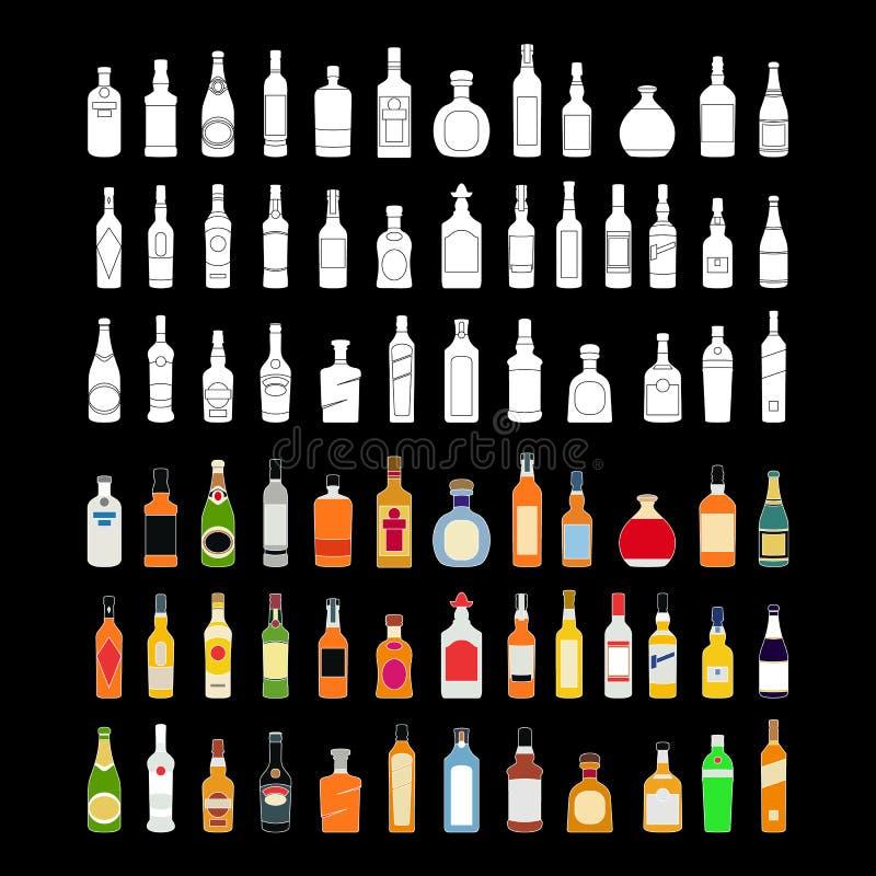 Διανυσματικά εικονίδια γραμμών μπουκαλιών οινοπνεύματος καθορισμένα ποτά απεικόνισης Αντικείμενο για τη διαφήμιση και Ιστός που α ελεύθερη απεικόνιση δικαιώματος