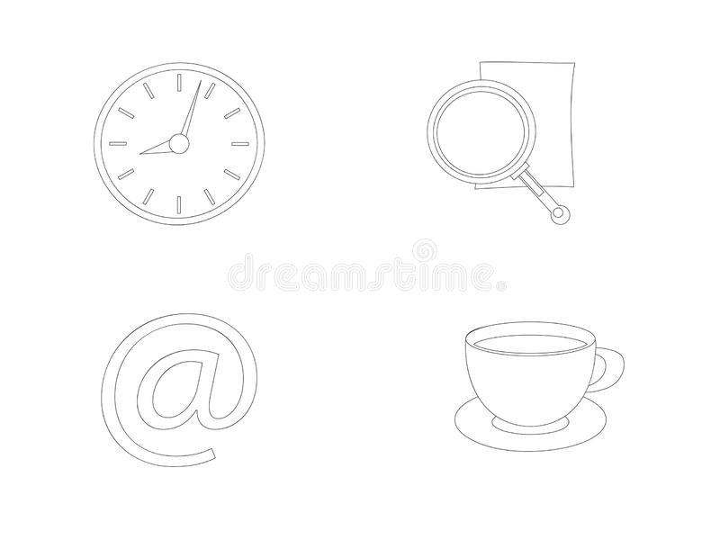 Διανυσματικά εικονίδια γραφείων γραμμών αποθεμάτων απεικόνιση αποθεμάτων