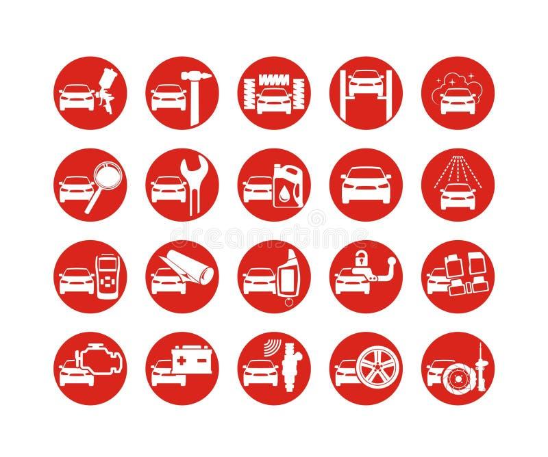 Διανυσματικά εικονίδια επισκευής και προσδιορισμού αυτοκινήτων απεικόνιση αποθεμάτων