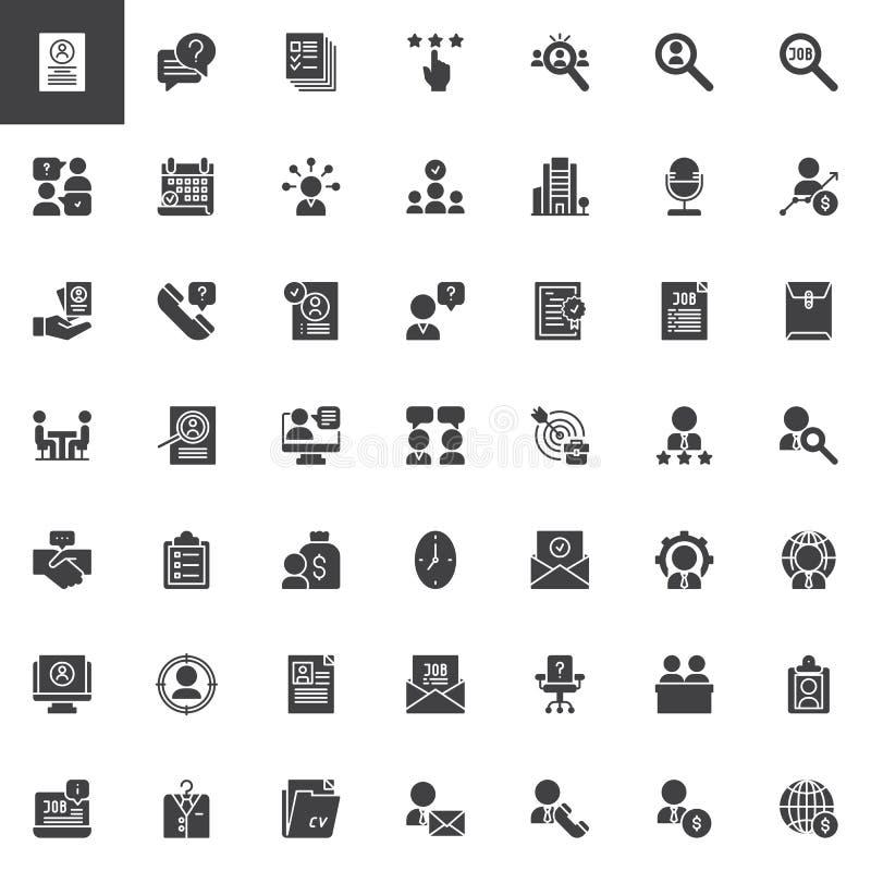 Διανυσματικά εικονίδια επιχειρησιακής συνέντευξης καθορισμένα ελεύθερη απεικόνιση δικαιώματος
