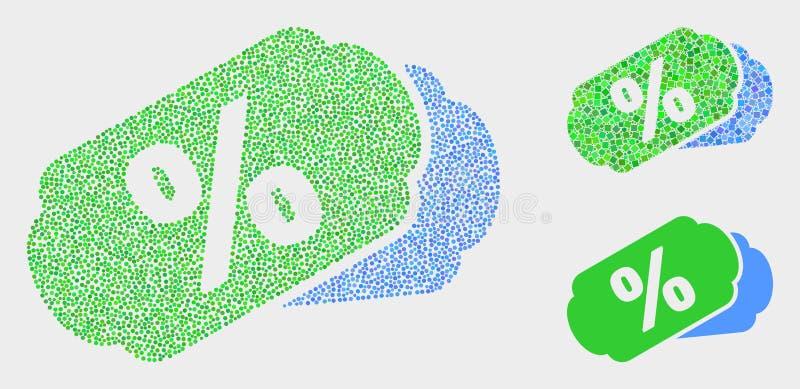 Διανυσματικά εικονίδια ετικεττών τοις εκατό Pixelated ελεύθερη απεικόνιση δικαιώματος