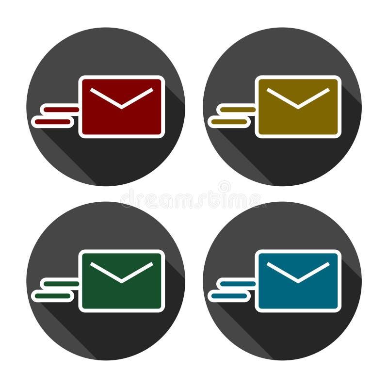Διανυσματικά εικονίδια ηλεκτρονικού ταχυδρομείου καθορισμένα απεικόνιση αποθεμάτων