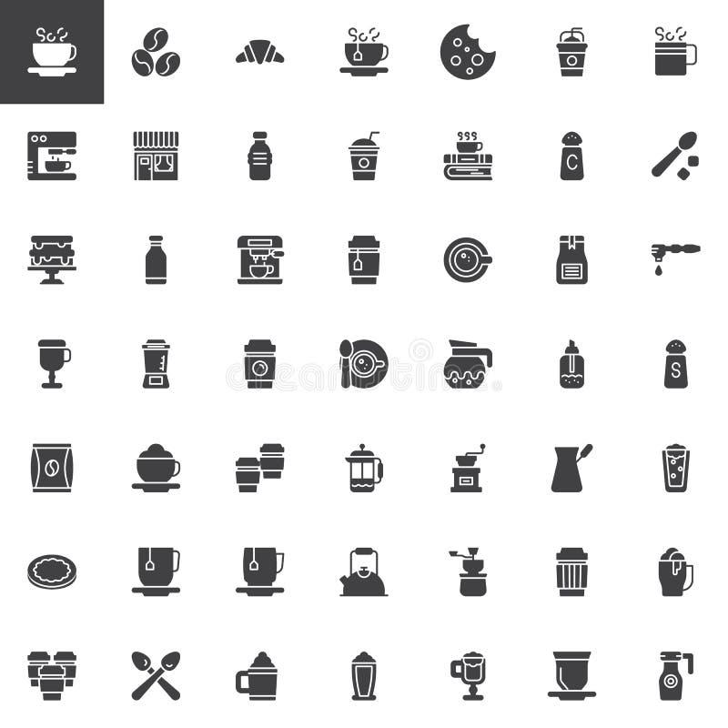 Διανυσματικά εικονίδια καφετεριών καθορισμένα διανυσματική απεικόνιση