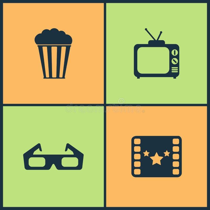 Διανυσματικά εικονίδια κινηματογράφων απεικόνισης καθορισμένα Στοιχεία του προβολέα, της καρέκλας διευθυντή, του βραβείου κινηματ διανυσματική απεικόνιση