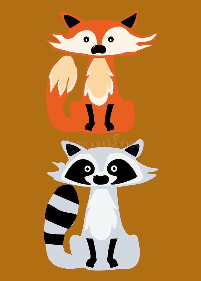 Διανυσματικά εικονίδια μεφιτίδων και αλεπούδων