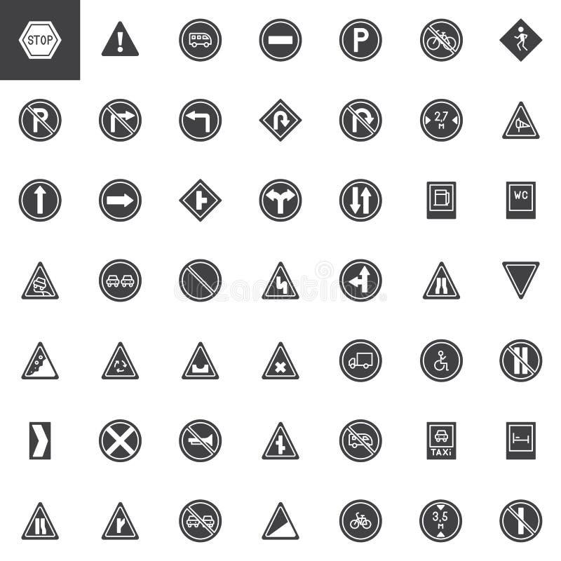 Διανυσματικά εικονίδια οδικών σημαδιών καθορισμένα απεικόνιση αποθεμάτων