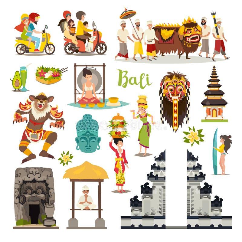 Διανυσματικά εικονίδια ορόσημων του Μπαλί καθορισμένα Διευκρινισμένη συλλογή ταξιδιού διανυσματική απεικόνιση