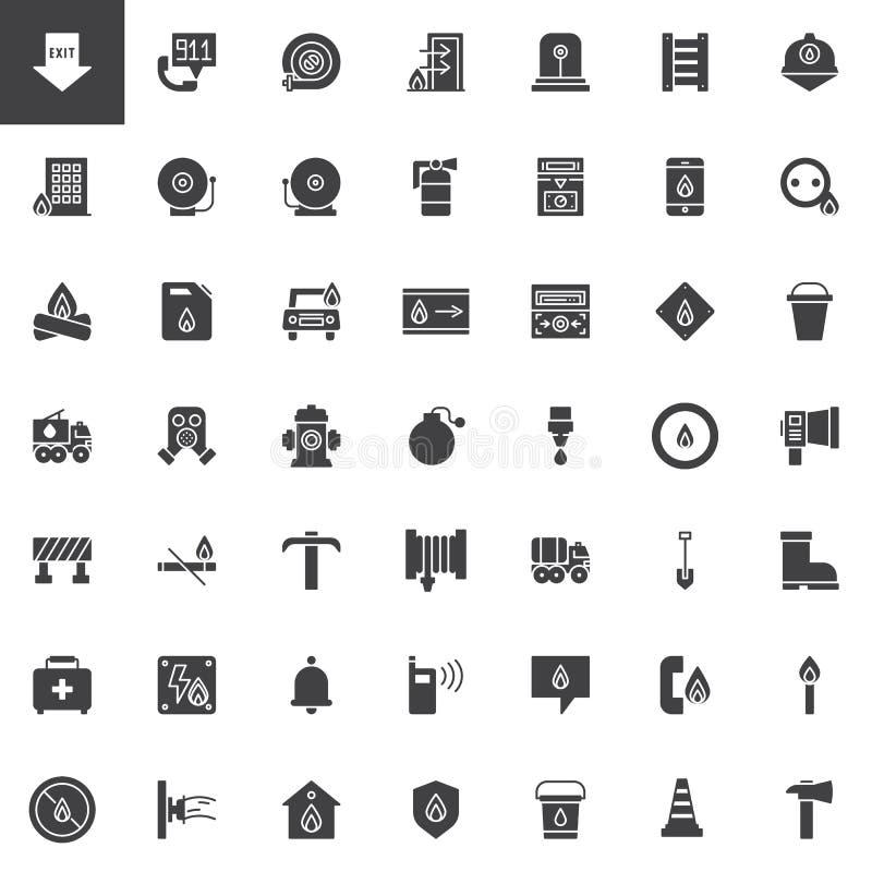 Διανυσματικά εικονίδια πυροσβεστικών υπηρεσιών καθορισμένα απεικόνιση αποθεμάτων