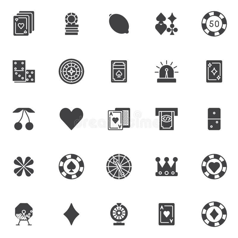 Διανυσματικά εικονίδια στοιχείων χαρτοπαικτικών λεσχών παιχνιδιού καθορισμένα