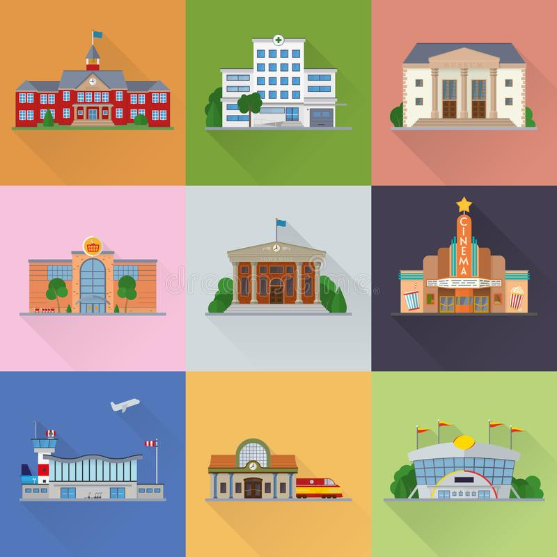 Διανυσματικά εικονίδια σχεδίου δημόσιων κτιρίων και εγκαταστάσεων επίπεδα διανυσματική απεικόνιση