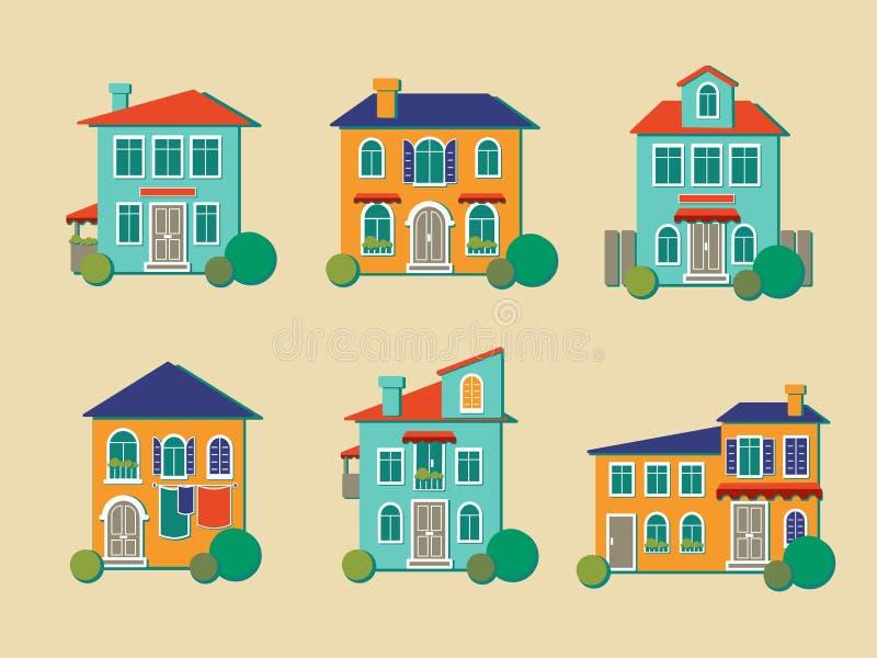 Διανυσματικά εικονίδια των σπιτιών στο επίπεδο ύφος απεικόνιση αποθεμάτων