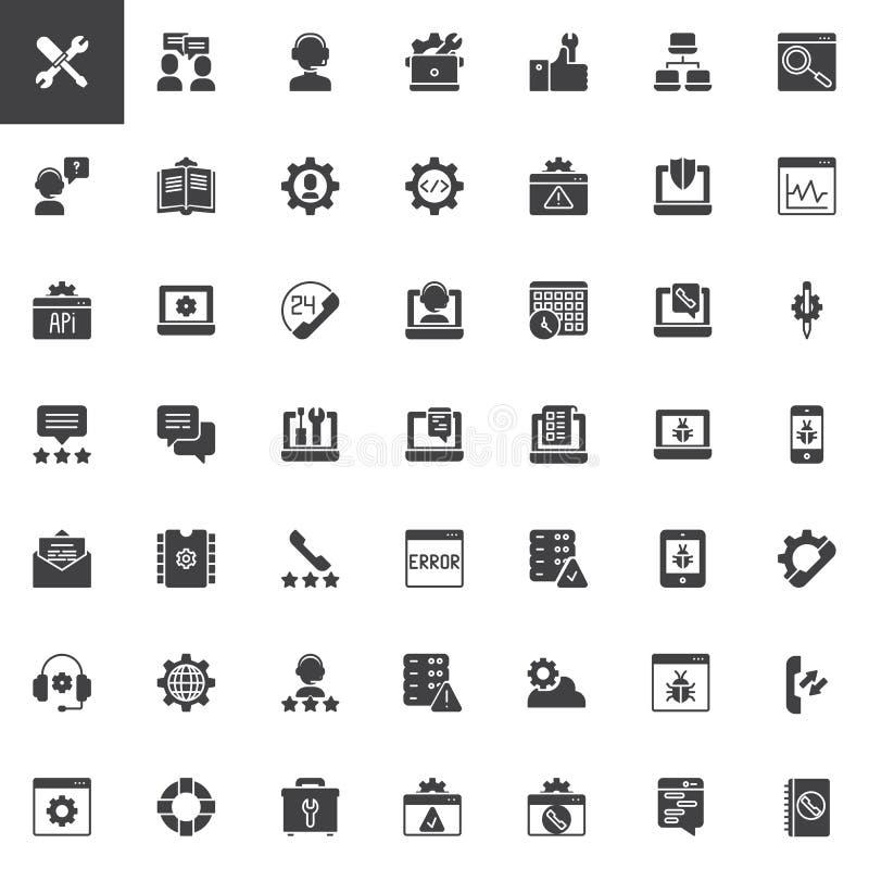 Διανυσματικά εικονίδια υποστήριξης τεχνολογίας καθορισμένα ελεύθερη απεικόνιση δικαιώματος