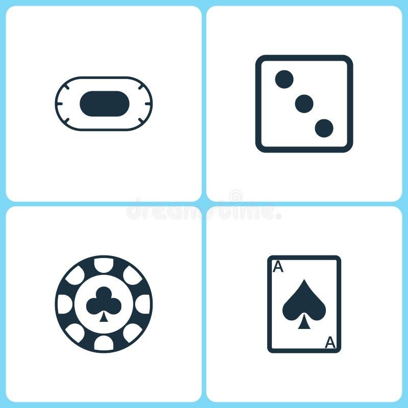 Διανυσματικά εικονίδια χαρτοπαικτικών λεσχών απεικόνισης καθορισμένα Τα στοιχεία του πίνακα παιχνιδιών, χωρίζουν σε τετράγωνα το  απεικόνιση αποθεμάτων