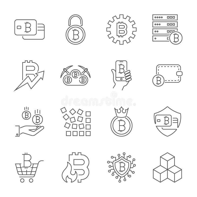Διανυσματικά εικονίδια Cryptocurrency γραμμών Λεπτύντε τα σύμβολα Bitcoin περιλήψεων o διανυσματική απεικόνιση