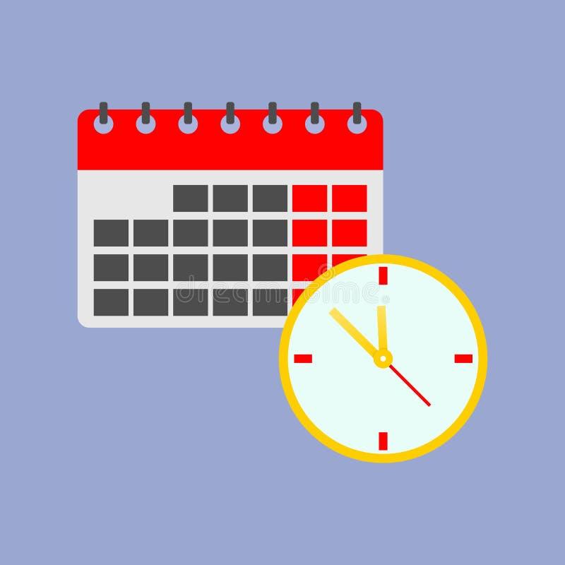 Διανυσματικά εικονίδιο και ημερολόγιο ρολογιών χρώματος Εικονίδιο χρονικής διαχείρισης διανυσματική απεικόνιση