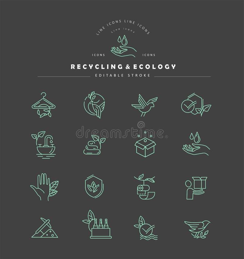 Διανυσματικά εικονίδιο και λογότυπο για την προστασία του περιβάλλοντος και την ανακύκλωση διανυσματική απεικόνιση