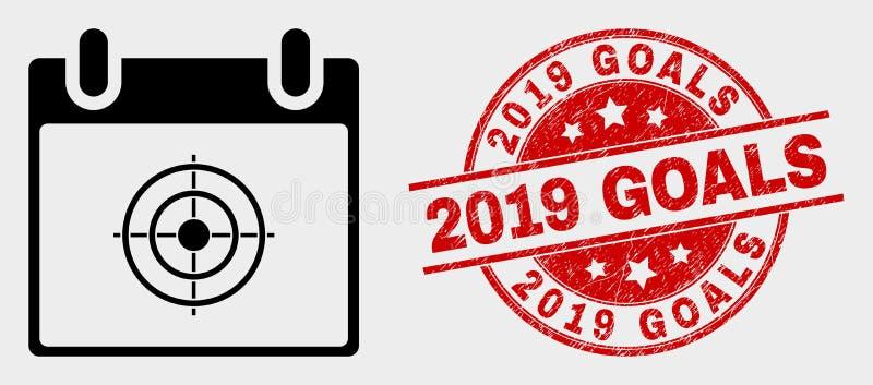 Διανυσματικά εικονίδιο και Grunge 2019 ημερολογιακών σελίδων στόχων υδατόσημο στόχων διανυσματική απεικόνιση
