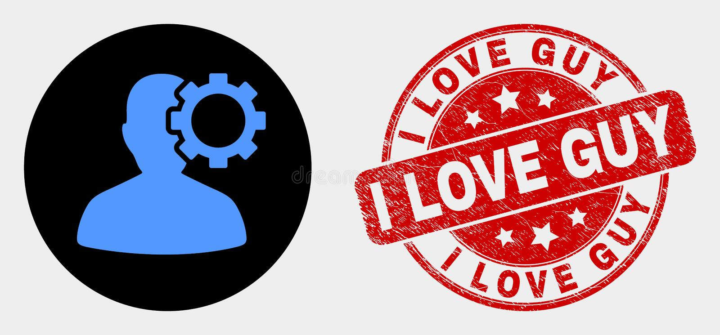 Διανυσματικά εικονίδιο και Grunge Ι εργαλείων επιλογών χρηστών γραμματόσημο τύπων αγάπης ελεύθερη απεικόνιση δικαιώματος