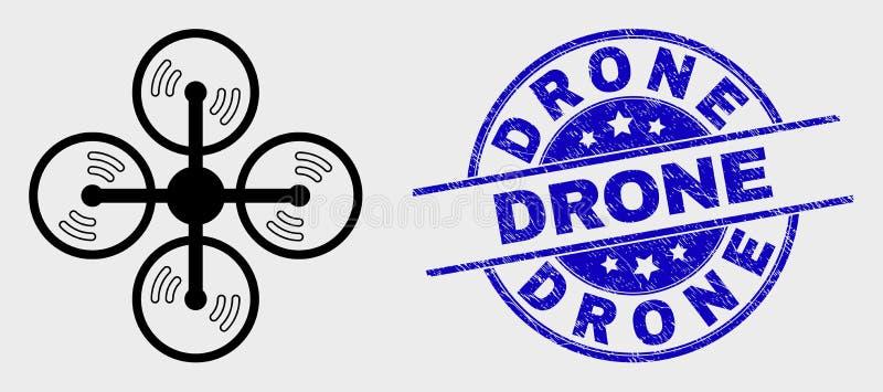 Διανυσματικά εικονίδιο Copter αέρα περιλήψεων και υδατόσημο κηφήνων Grunge ελεύθερη απεικόνιση δικαιώματος