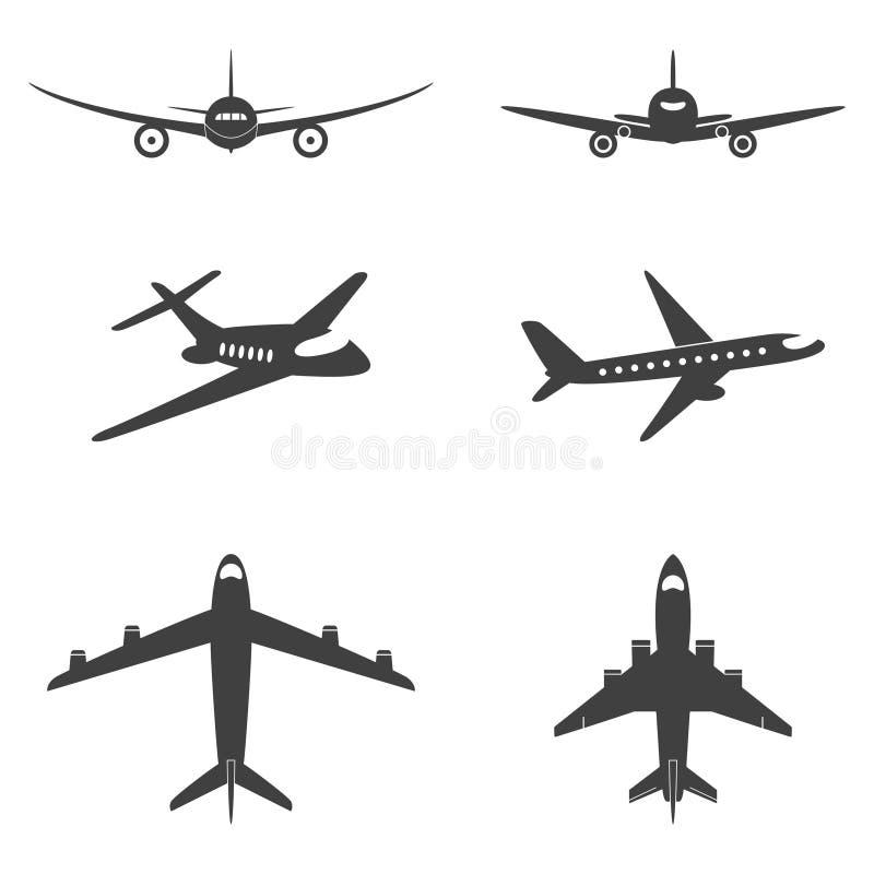 Διανυσματικά εικονίδια αεροπλάνων καθορισμένα ελεύθερη απεικόνιση δικαιώματος