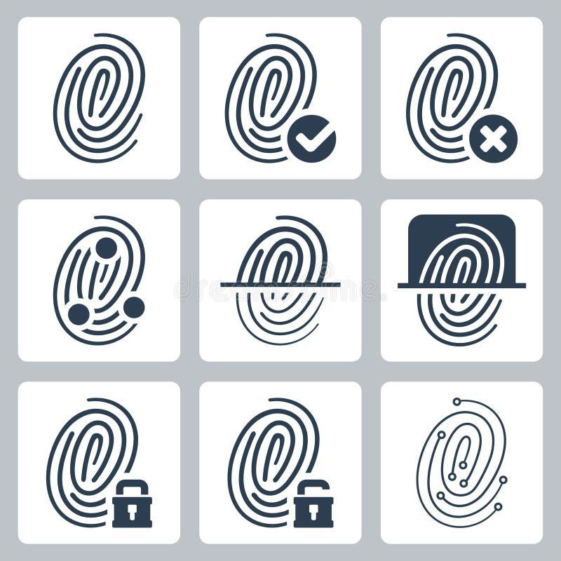 Διανυσματικά εικονίδια δακτυλικών αποτυπωμάτων καθορισμένα διανυσματική απεικόνιση